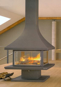 central fireplace 19