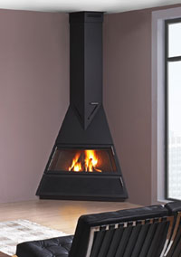 continuous burning fireplace corner