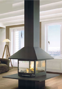central fireplace 25