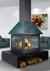 central fireplace 138