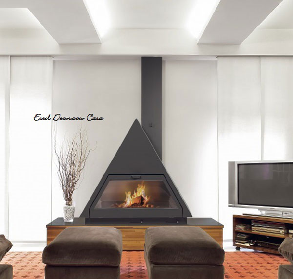 chemin e de face triangulaire gaz avec une large vision du feu chemin e au gaz pas ch re. Black Bedroom Furniture Sets. Home Design Ideas
