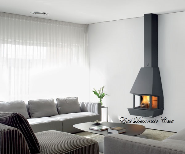 chemin e gaz avec un foyer ferm de face suspendue pour un feu en hauteur une chemin e gaz. Black Bedroom Furniture Sets. Home Design Ideas