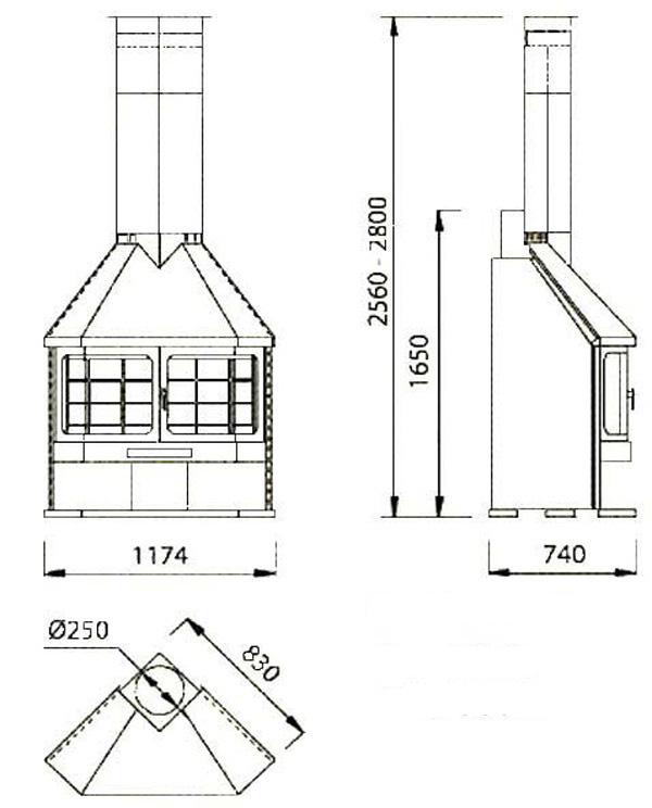 cheminée à gaz angle 93-2
