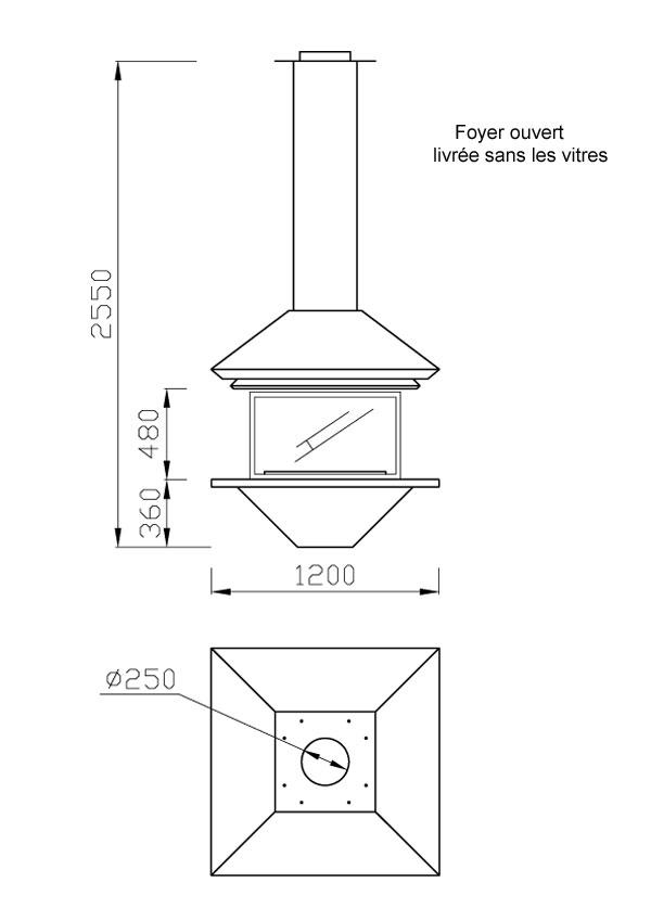 cheminée au gaz centrale foyer ouvert 90-2