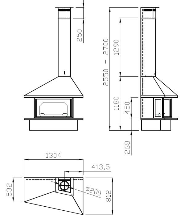 cheminée à gaz frontale 94-2