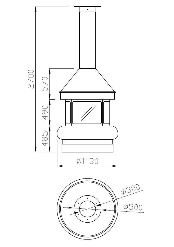 cheminée au gaz centrale foyer ouvert 89-2