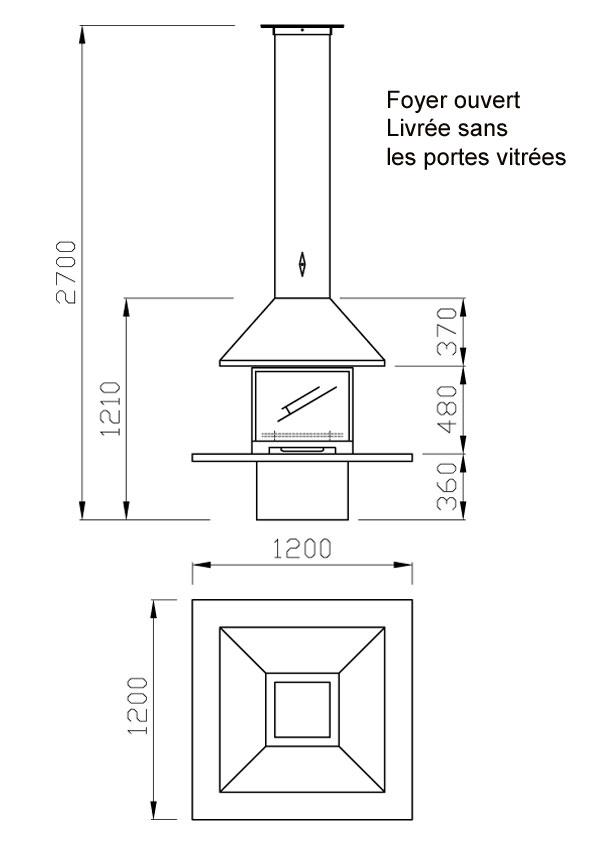 cheminée gaz 4 vitres 98-2