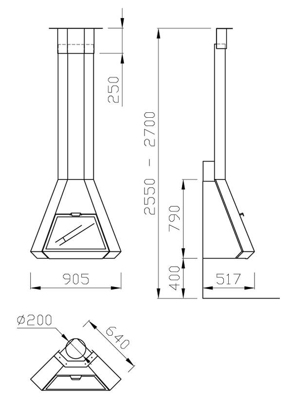 cheminée gaz angle suspendue 100-2