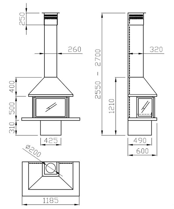cheminée gaz contre un mur 102-3