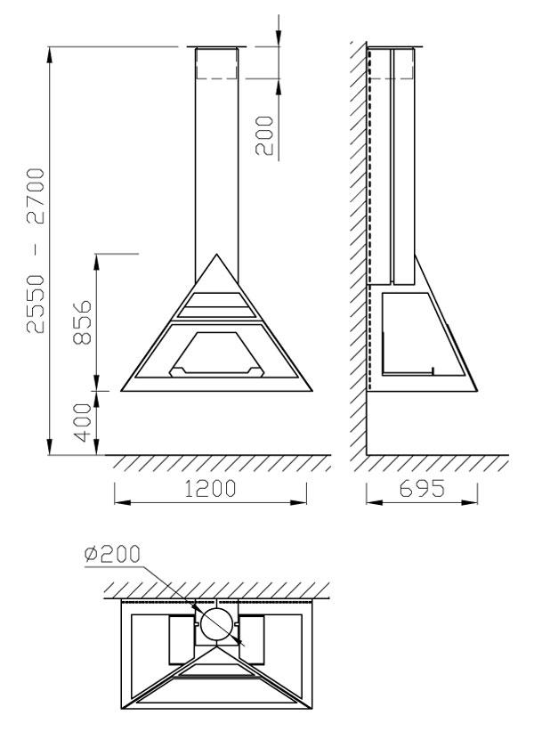 cheminée gaz murale suspendue 108-2