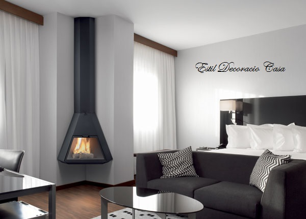 chemin e d 39 angle gaz suspendue avec le feu en hauteur. Black Bedroom Furniture Sets. Home Design Ideas
