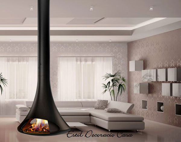 chemin e centrale suspendue bois avec foyer ouvert deux faces installer au centre de vitre salon. Black Bedroom Furniture Sets. Home Design Ideas
