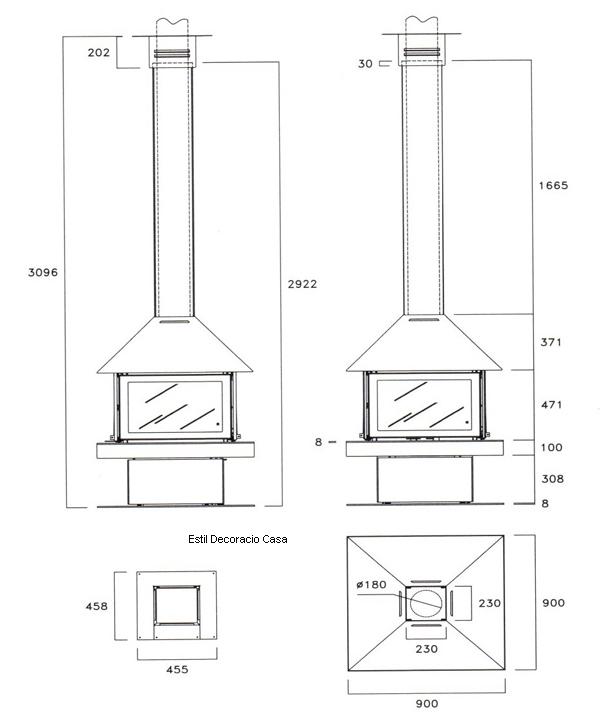 cheminee centrale avec côtes