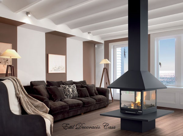 chemin e de centrale gaz avec 4 vitres br leur et foyer. Black Bedroom Furniture Sets. Home Design Ideas