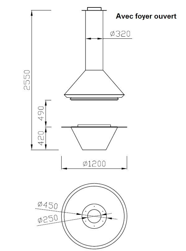 cheminée centrale à gaz 26-4