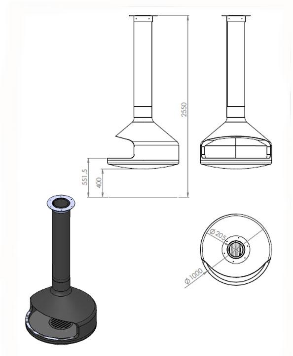 chemin e centrale suspendue avec foyer rotatif chemin e m tallique. Black Bedroom Furniture Sets. Home Design Ideas