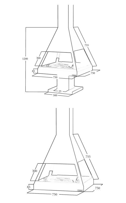 cheminées suspendue cnetrale CH 05 C