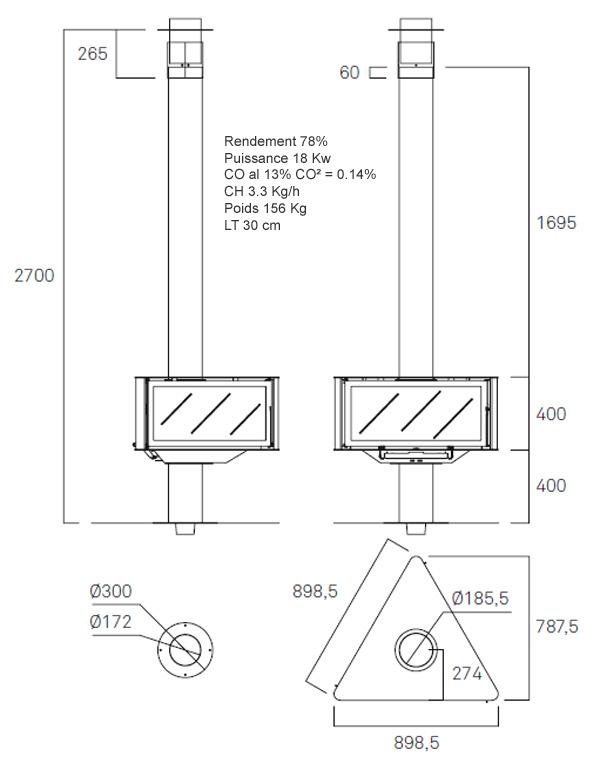plan cheminée centrale suspendue 139